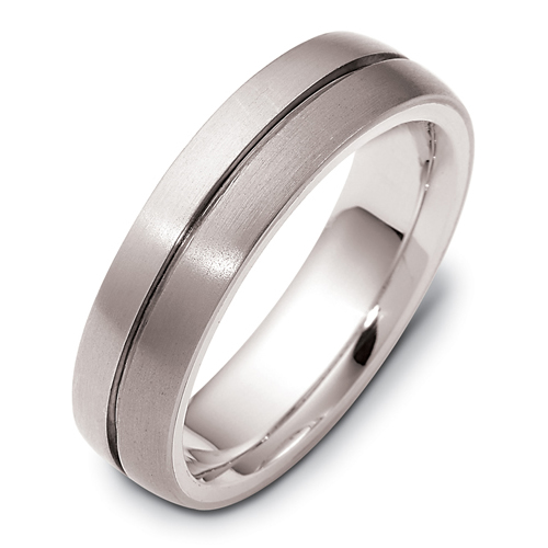 Men's Brushed 18k White Gold and Titanium Band