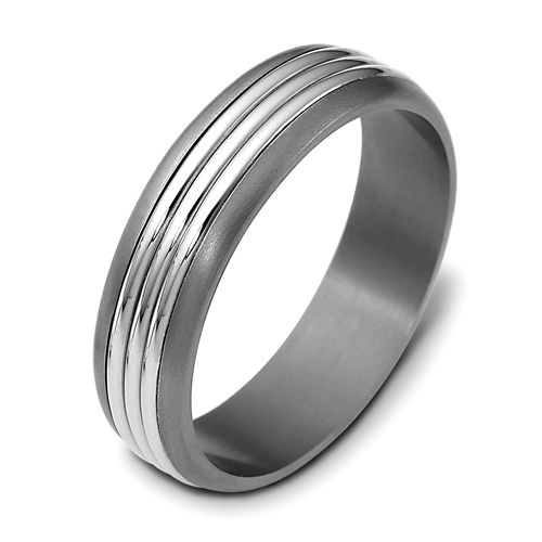 Men's Brushed 18k White Gold and Titanium Band - Image