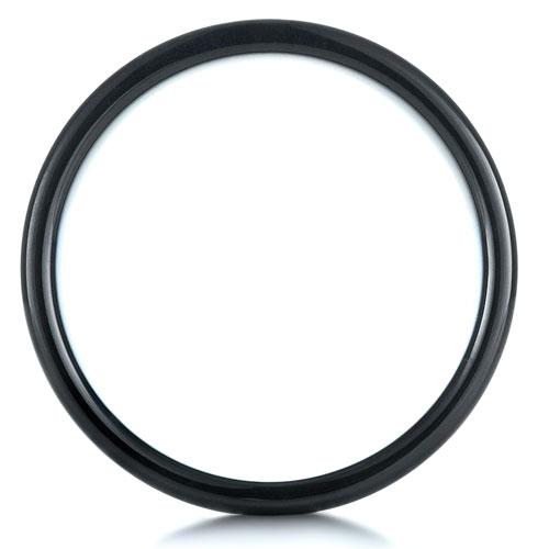 Men's Brushed Black Tungsten Ring - Finger Through View