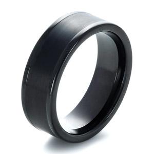 mens brushed black tungsten ring