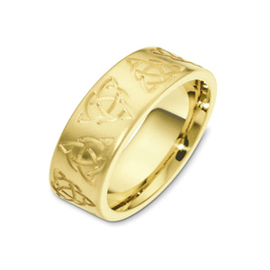 Men's Brushed, Engraved 18k Yellow Gold Band