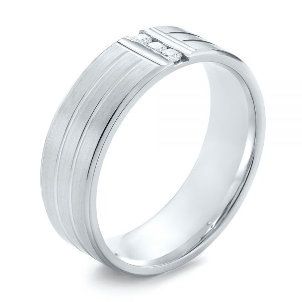 Men's Brushed Finish Diamond Wedding Band - Image