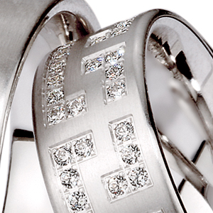 Men's Brushed Platinum and Diamond Band