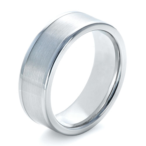 Men's Brushed Tungsten Ring - Three-Quarter View -  1361 - Thumbnail