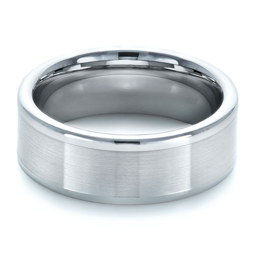 Men's Brushed Tungsten Ring - Flat View -