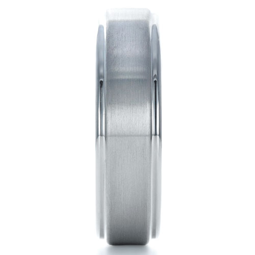 Men's Brushed Tungsten Ring - Side View -