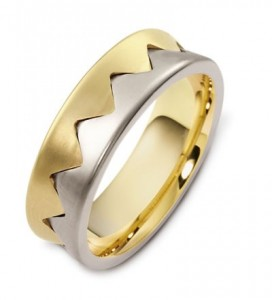 Men's Brushed Two-Tone Gold Band
