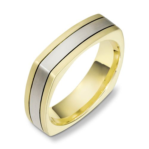 Men's Brushed Two-Tone Gold Band - Image