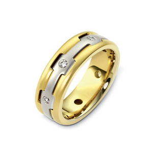 Men's Brushed Two-Tone Gold and Diamond Band