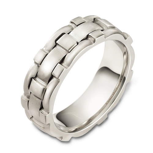 Men's Brushed Woven 18k White Gold Band - Three-Quarter View -  413 - Thumbnail