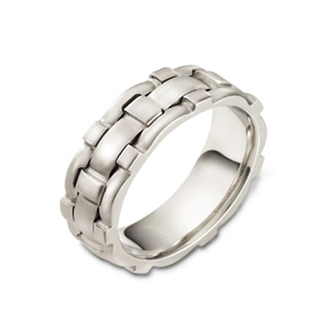 Men's Brushed Woven 18k White Gold Band