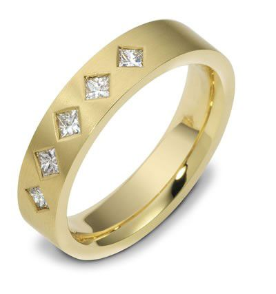 Men's Brushed Yellow Gold and Diamond Band - Image