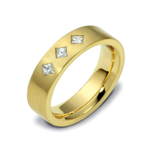 Men's Brushed Yellow Gold and Diamond Band