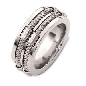Men's Cable 18k White Gold Band - Image