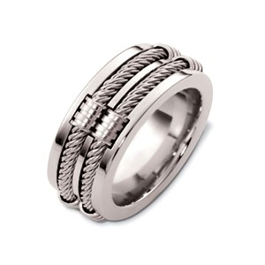 Men's Cable 18k White Gold Band