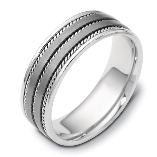 Men's Cable 18k White Gold and Titanium Band - Image