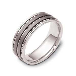 Men's Cable 18k White Gold and Titanium Band