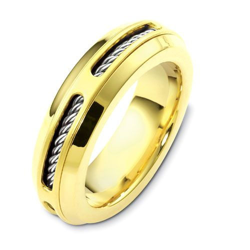 Men's Cable Two-Tone Gold Band - Image