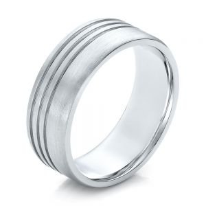 Men's Contemporary Brushed White Gold Wedding Band - Image