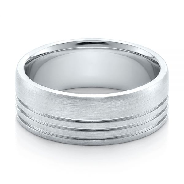Men's Contemporary Brushed White Gold Wedding Band - Flat View -  100173 - Thumbnail