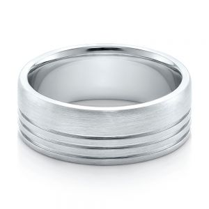 Men's Contemporary Brushed White Gold Wedding Band