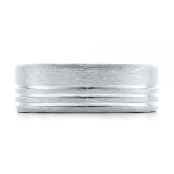 Men's Contemporary Brushed White Gold Wedding Band - Top View -  100173 - Thumbnail
