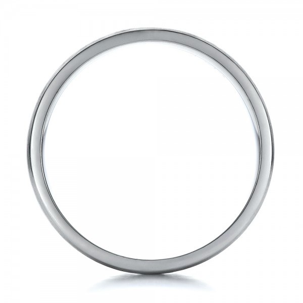 Men's Contemporary Brushed White Gold Wedding Band - Finger Through View