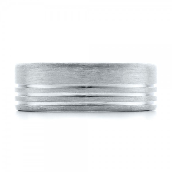 Men's Contemporary Brushed White Gold Wedding Band - Top View