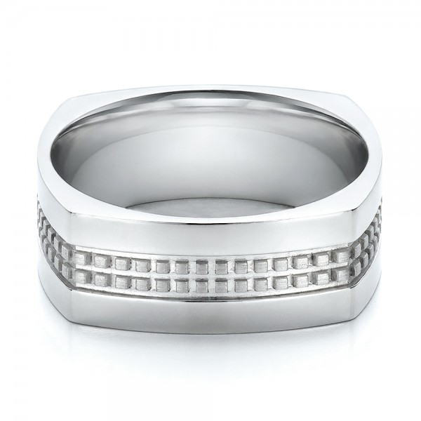 mens contemporary wedding band laying view - Contemporary Wedding Rings