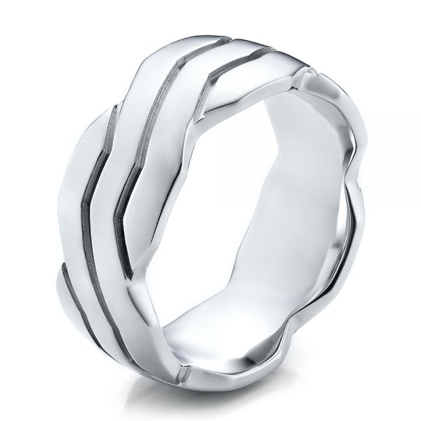 18k White Gold Men's Contemporary Woven Wedding Band - Three-Quarter View -