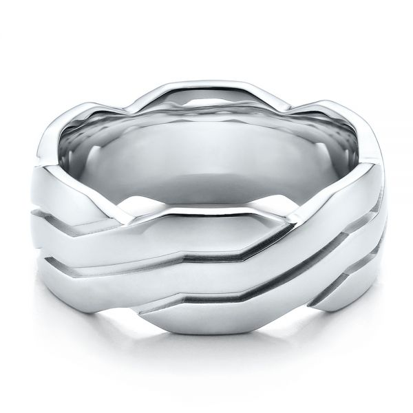 18k White Gold Men's Contemporary Woven Wedding Band - Flat View -