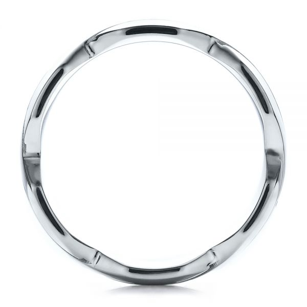 18k White Gold Men's Contemporary Woven Wedding Band - Front View -