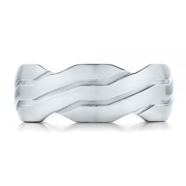 18k White Gold Men's Contemporary Woven Wedding Band - Top View -