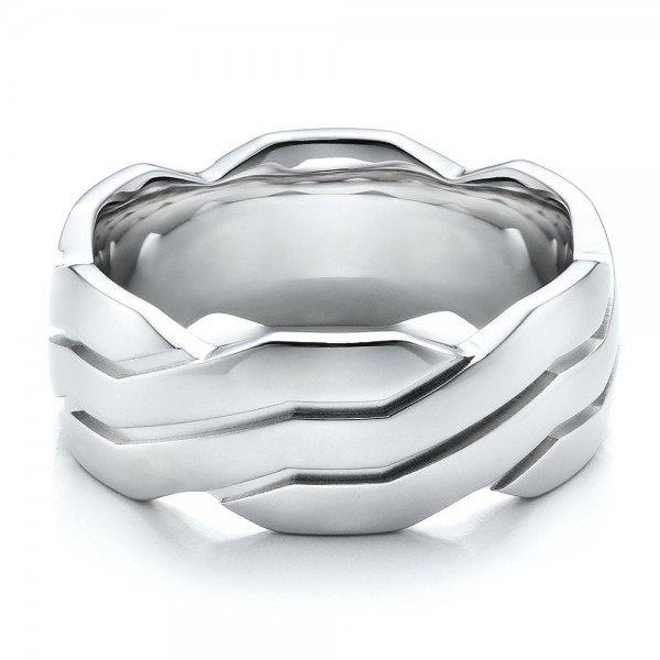 Men's Contemporary Woven Wedding Band - Laying View
