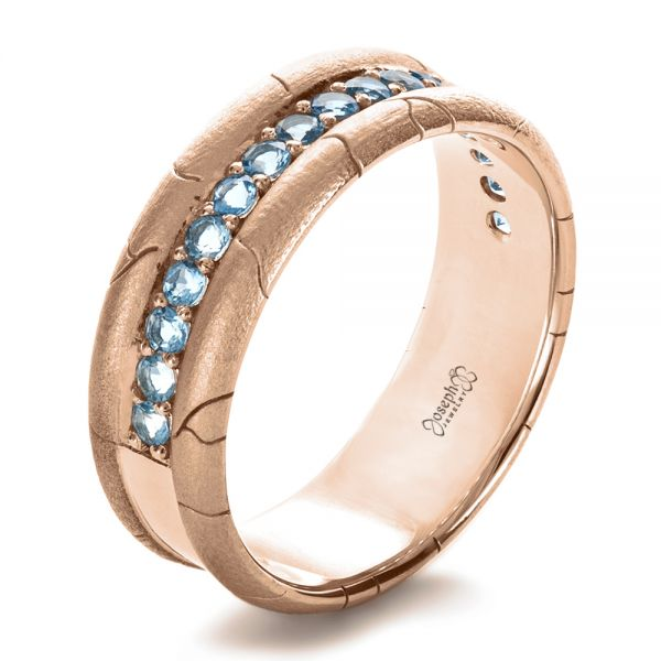 18k Rose Gold 18k Rose Gold Men's Custom Ring With Aquamarine - Three-Quarter View -