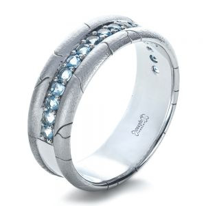 Men's Custom Ring with Aquamarine - Image