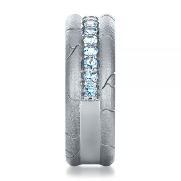 14k White Gold Men's Custom Ring With Aquamarine - Side View -