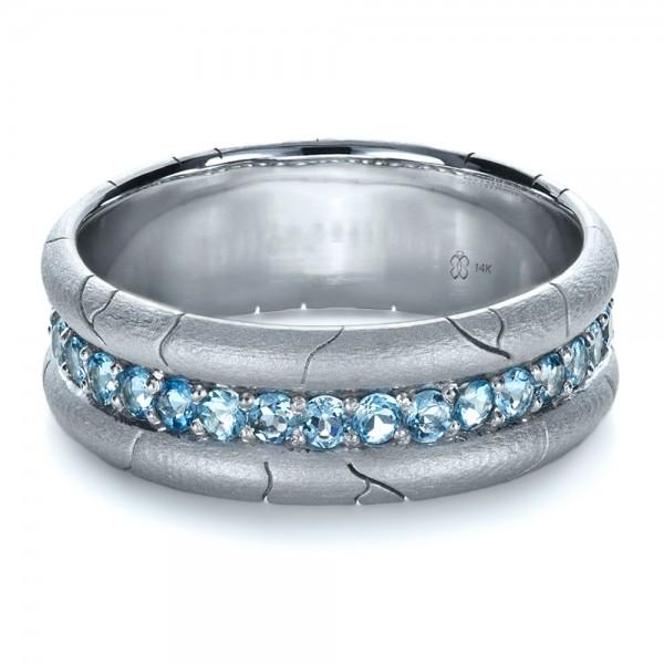 ... Jewelry › Men's Wedding Bands › Men's Custom Ring with Aquamarine