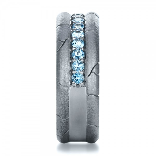 Men's Custom Ring with Aquamarine - Side View