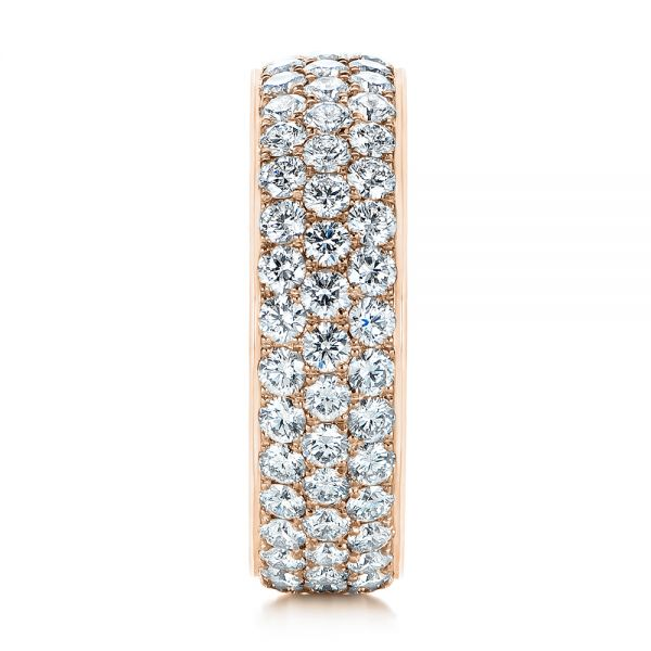 14k Rose Gold 14k Rose Gold Men's Diamond Pave Hexagon Eternity Band - Side View -  105233