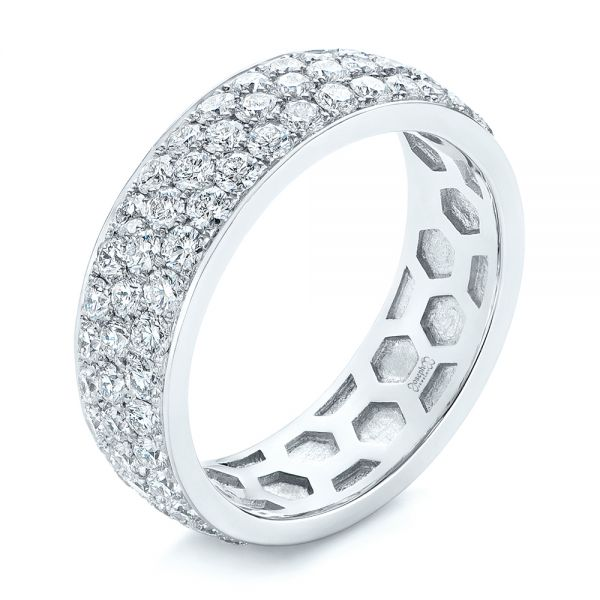 Platinum Men's Diamond Pave Hexagon Eternity Band - Three-Quarter View -  105233