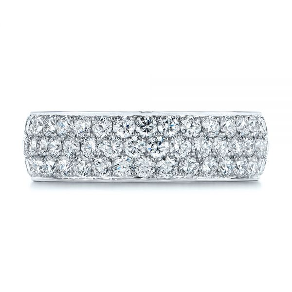 Platinum Men's Diamond Pave Hexagon Eternity Band - Top View -  105233