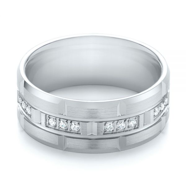 14k White Gold And 14K Gold Men's Diamond Wedding Band - Flat View -