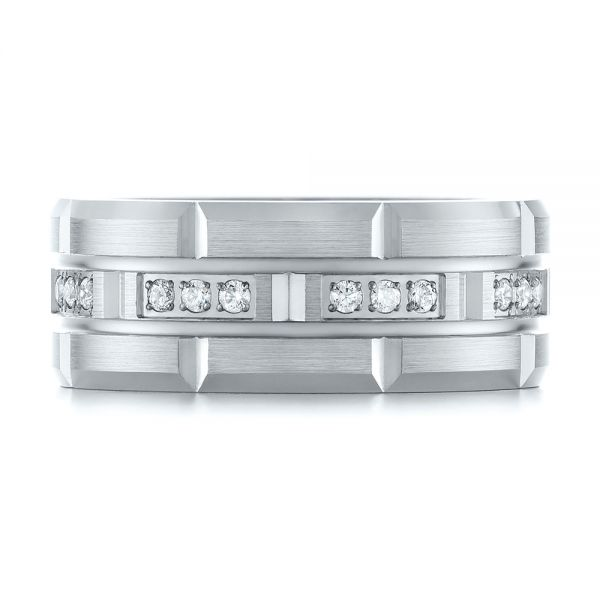 14k White Gold And 14K Gold Men's Diamond Wedding Band - Top View -