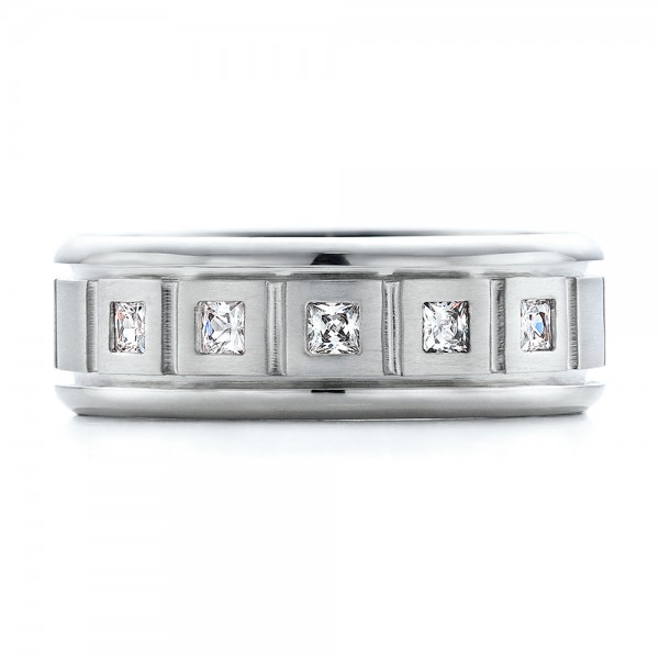 Men's Diamond Wedding Band - Top View