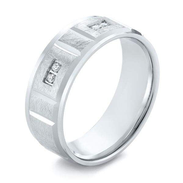 Men's Diamond and Scratch Finish Wedding Band - Image