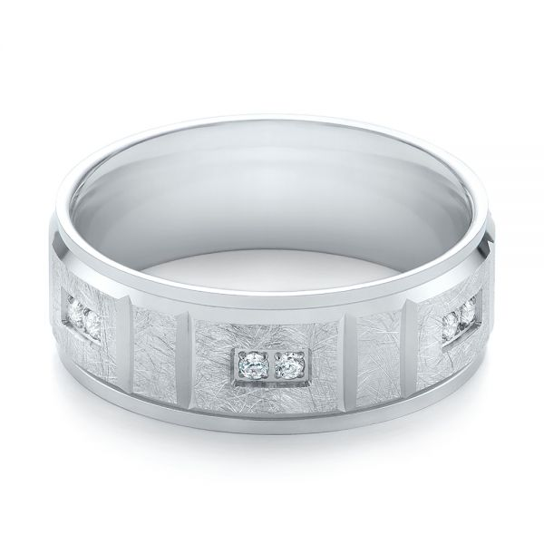 Men's Diamond And Scratch Finish Wedding Band - Flat View -  103969 - Thumbnail