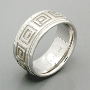 Men's Engraved 18k White Gold Band - True Knots