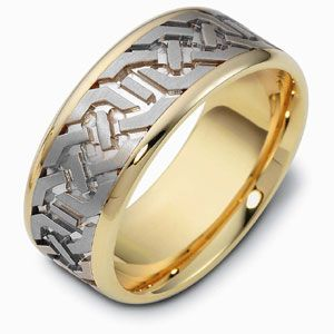 Men's Engraved Two-Tone Gold Band - Image