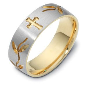 18k Yellow Gold And 18K Gold Men's Engraved Two-tone Band - Three-Quarter View -  328